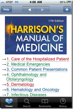 Post image for Harrison's Manual of Medicine App: Translation of Famous Medical Text to Mobile Form [App Review]
