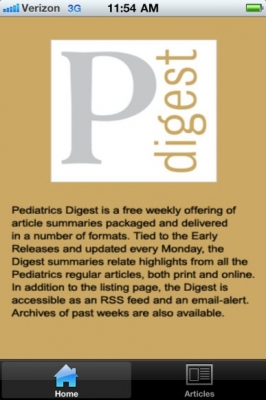 Post image for Pediatric Digest is a great app for staying up to date, bringing Pediatrics journal to the iPhone
