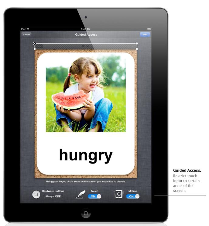 Tela do Acesso Guiado no iPad com iOS 6