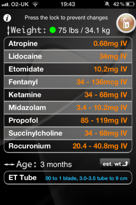 Post image for Peds Airway app uses novel interface to quickly calculate drug doses based on age and weight
