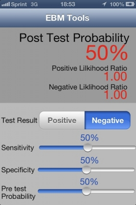 Post image for EBM Tools provides a simple app to calculate post test probability and related statistics