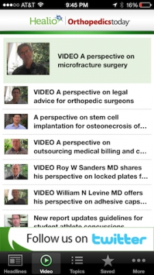 Post image for Healio: Orthopaedics Today App is a great tool for keeping up latest news and research in orthopedics